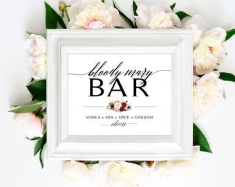Bloody Mary Bar Sign   8 x 10   DIY Printable   Modern   Black   Marsala Blooms   PDF and JPG Files   Instant Download