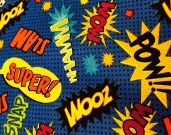 Comic Book Super Hero Fabric, novelty fabric, super hero fabric, comic book fabric