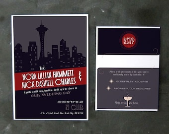 Nick and Nora - Film Noir Invitations and RSVPs