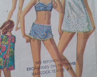 Vintage Simplicity 7143 Sewing Pattern Size 12T Bust 32 Beach Top and Bikini