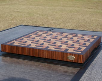 "Hard Maple, Cherry and Walnut 3D End Grain Cutting Board (measures:  15 1/4"" x 14 5/8"" x 1 3/8"" thick)"