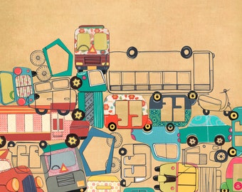Traffic Jam Gridlock - Postcards From India - 11 by 14 Illustration Paper Collage Art Print (Signed)