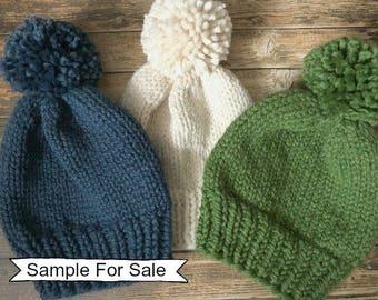 Knitted Hat, Chunky Knit Pom Pom Hat, Pom Pom Hat, Chunky Knit Beanie, Chunky Hat, Cream Knit Hat, Blue Knit Hat, Green Knit Hat