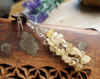 925 Silver hook earrings and citrine cluster