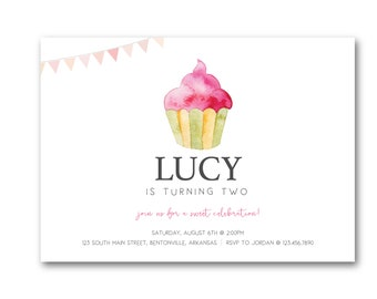 Cupcake Birthday Party Invitation - Simple and Clean