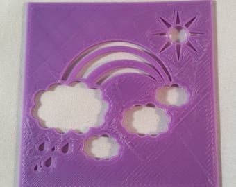 Maker's Outpost LED Tealight Candle Holder Rainbow Clouds Panels (4)