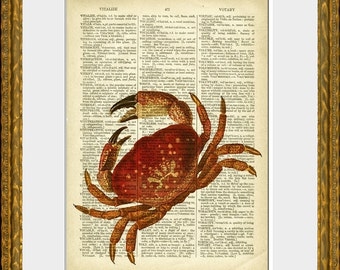 RED CRAB recycled book page art print - an upcycled antique dictionary page with a retooled antique sea illustration - home decor