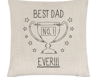 Best Dad Ever No.1 Linen Cushion Cover