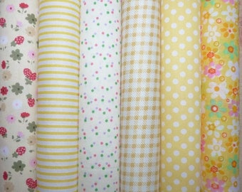 Set of 6 coupons patchwork fabric cotton seam 45 X 45 cm tones yellow 0108