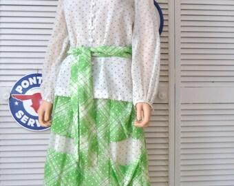 Vintage 70s 80s Chessa Davis Maxi Skirt & Sheer Blouse Polka Dot Dress Belt Elastic Waist Womens Theater Costume Medium Green White as is
