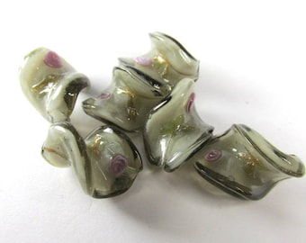 Gray and Pink Rose Lampwork Glass 20mm x 15mm Twisted Jewelry Beads (5)