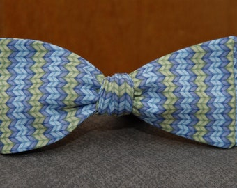 Green and Blue Herringbone Sweater Pattern  Bow Tie