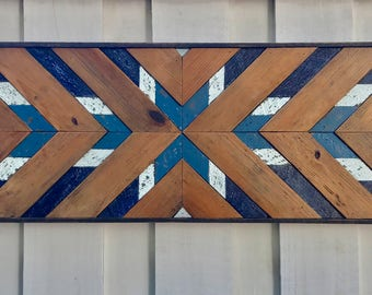 "12x48"" Rustic Wood Wall Art - Blue & Brown. Wooden Wall Art, Geometric Wall Art, Wall Art, Reclaimed Wood Art, Modern Wall Art,"