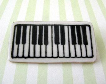 Piano Keyboard Brooch Handmade Porcelain Ceramic Jewelry