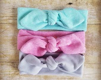Baby girl headband set, baby shower gift, knot headband, head wrap, stretchy  headband