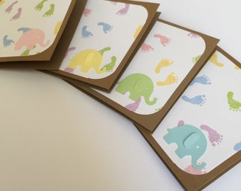 6 Mini Notecards with Baby Footprint and Elephant- Baby shower