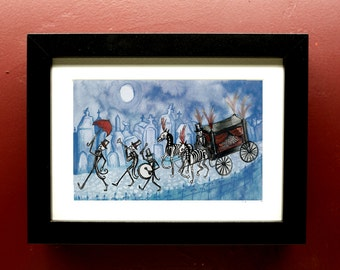 Jazz Funeral Archival Print in 4 by 6 Black Frame