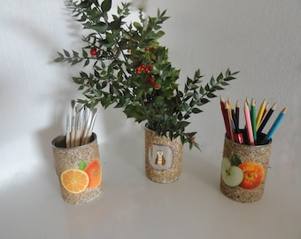pencil holder in Tin, salvaged vase, table decoration