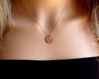 Circle Necklace, Rose Gold filled, Disc Necklace, Gold Necklace, Round Necklace, Minimalist Necklace,Rose Gold Necklace, Layering Necklace