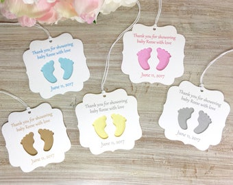 Baby shower favor tags, baby shower party favor tag, baby shower thank you tags, baby shower gift tags, baby shower favors girl