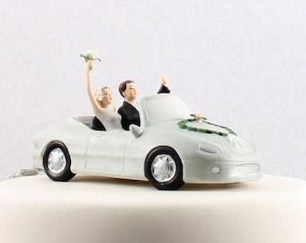 Wedding Cake Topper, Honeymoon Bound Couple In Car, Bride and Groom Wedding Cake Top