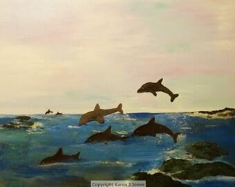 Dolphin Bay, original artwork, acrylic painting, original art, handmade, gift, ocean scene, framed, dolphin art, seascape, dolphins, decor