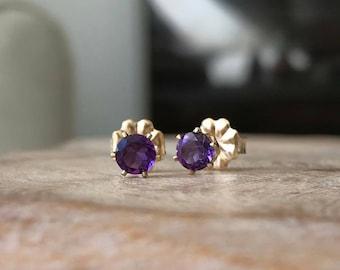Gold Amethyst Stud Earrings