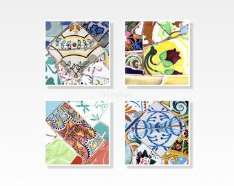 Colorful art prints, Wall Decor, Gaudi, Gallery wall art, Spanish tiles, Mosaic print, Art Nouveau,