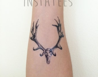 Black Temporary Antler Tattoo Tumblr Style