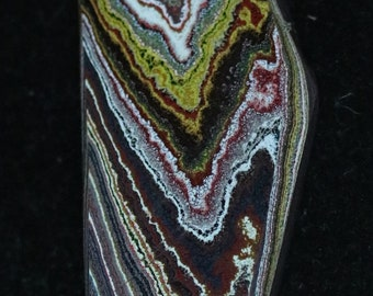 Corvettite cabochon, black brown yellow white gray maroon, 22ct