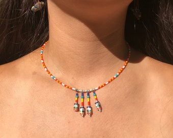Beaded Necklace, Orange Necklace, Colorful Necklace, Recycled Necklace, Recycled Jewelry