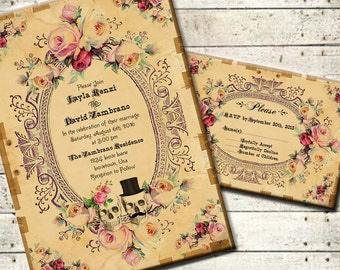Antoinette - Printable DIY Vintage Victorian Wedding Invitation Suite - Steampunk Antique Skulls and Roses - Romantic Halloween Wedding