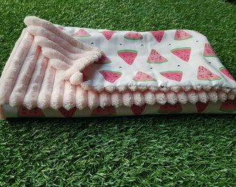 Cosy plush Baby Blanket - Pink watermelon - large