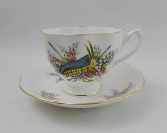 Queen Anne Scottish Tea Cup and Saucer Clan Macleod, Vintage Bone China