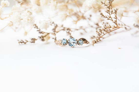Aquamarine three stone leaf engagement ring, 14k gold leaf engagement ring, aquamarine twig engagement, gold twig promise ring
