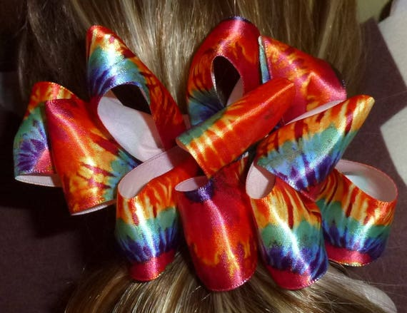 Becky Bows ~  Barrette ribbon Hand crafted  BIG hair bow Women or Girls orange yellow tie dye