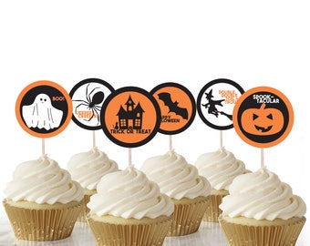 Halloween Cake Toppers, Instant Download, Printable Cake Toppers, Halloween, Party, Cupcake, Topper, Decorations, Cake, Gift, Labels, Tags