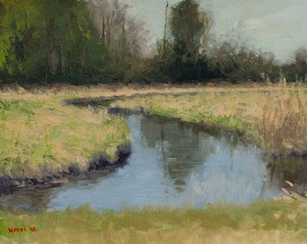 Mississippi River landscape oil painting - Tributary 2