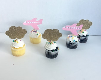 Pink and gold Airplanes and clouds cupcake toppers 10 ct. First birthday. Going away party. Baby shower props. Time flys theme party.