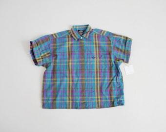 vintage dockers blouse | boxy blouse | blue and purple plaid blouse