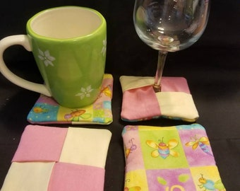 Mug rugs, coasters, wine glass coasters. Cute bugs