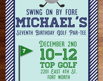 Custom digital or printed invitation + FREE SHIPPING!  Golf invitations- birthday, shower, party