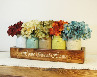 Home Sweet Home, Farmhouse decor, Kitchen Decor, Mason Jar box, Painted jars, Hydrangea flower, Wood box, Kitchen centerpiece, stained box