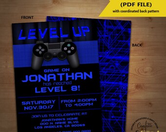 Level Up Video game birthday party invitation game on invite gaming party games truck blue YOU EDIT TEXT and print yourself invite 5733