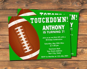 Football Birthday Party Invitation, Printable Touchdown Party Invite Card, Sports Party, Tailgate Invites, Your Words, Digital