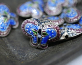 Chinese Cloisonne Beads 22x16mm Butterfly Shape Blue Cloisonne Bead Enamel Beads Metal Beads (4 beads) CL30