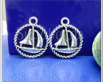 10 Antiqued Silver Sailboat Charms 19mm PS7