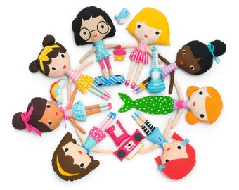 NEW Girl Friends Doll Sewing Panel Kit by Ann Kelle