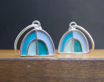 New Century Modern Blue and Brown Earrings - Reversible Silver and Enamel Lever Back Earrings - Half Dome Earrings
