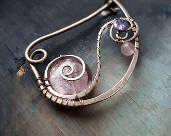 Silver Shawl pin, Scarf pin celtic sweater pin or shawl clasp pink purple wire wrapped brooch German silver, closure  shawl clasp, fibula